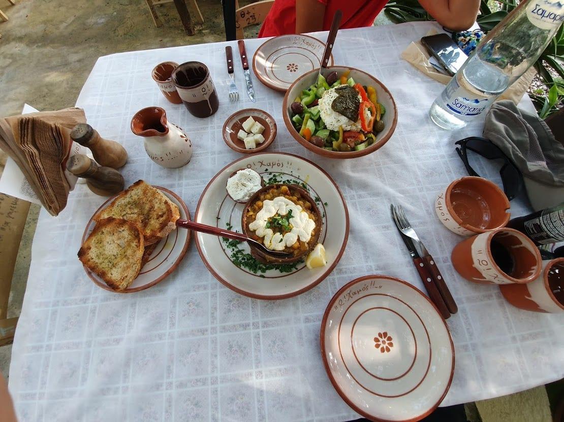 Eating at O Hamos in Milos