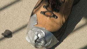 Emergency duct tape repairs for bike touring