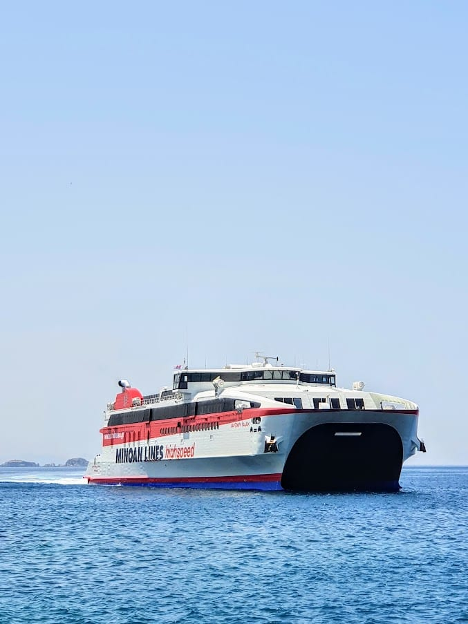 The Naxos to Paros high speed ferry operated by the Minoan Lines ferry company