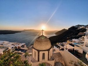 A photo of the Greek island of Santorini - thought to be one of the best islands for couples in Greece