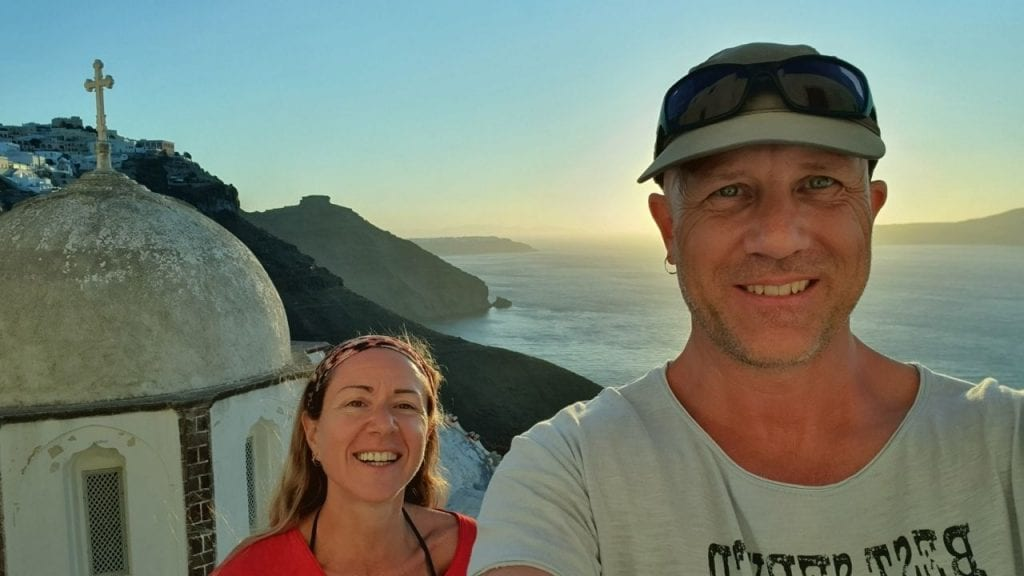 Dave and Vanessa on the Greek island of Santorini - A destination often thought of as one of the most romantic in Greece