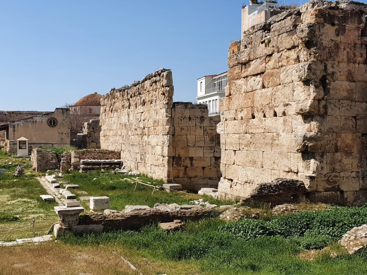 The historic site of Hadrian's Library in Athens, Greece