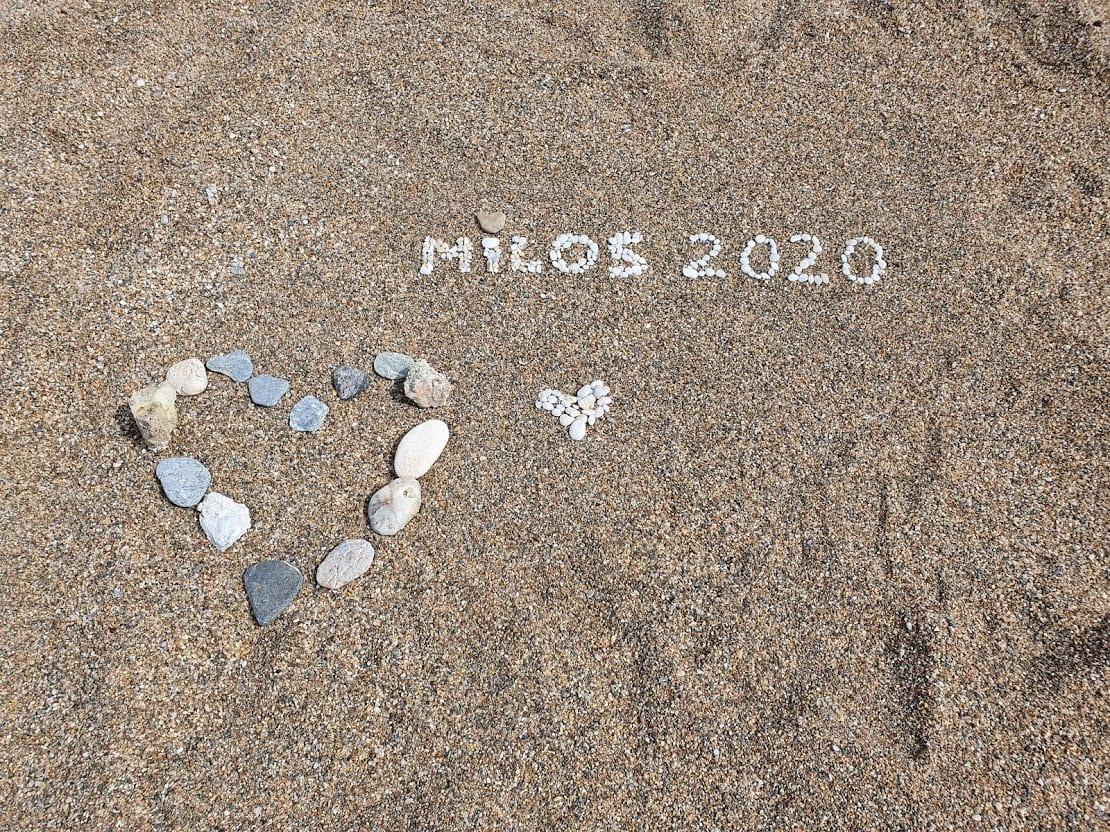 A love heart on the beach in Milos island Greece
