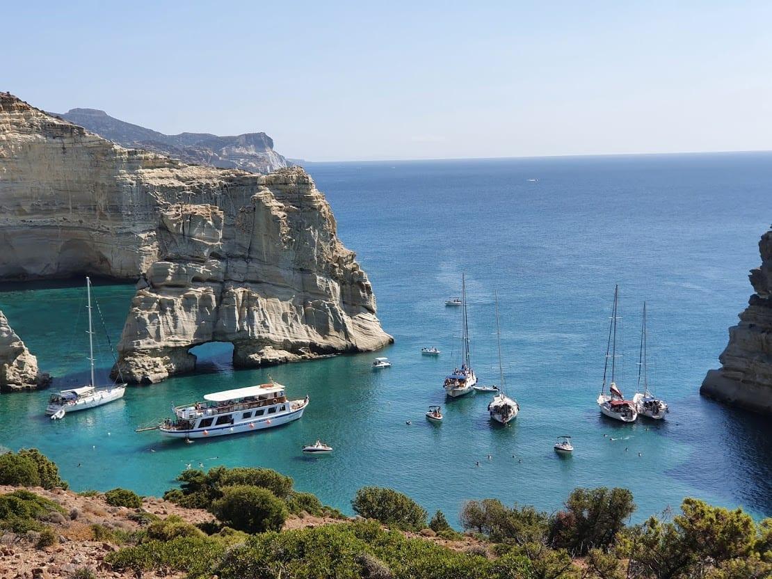 The famous Kleftiko Bay in Milos Greece