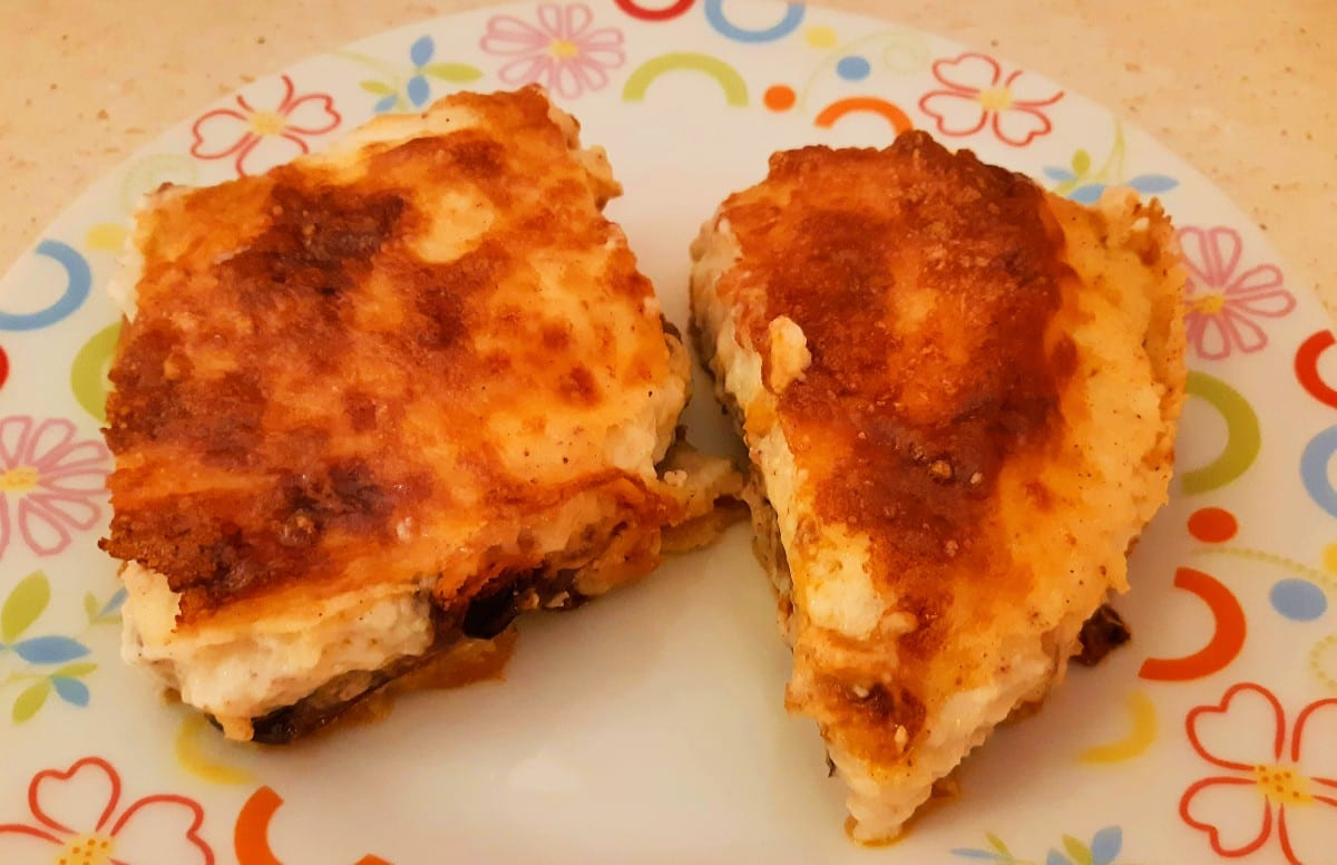 When people think of Greek food, they often mention Moussaka, the dish shown in this photo