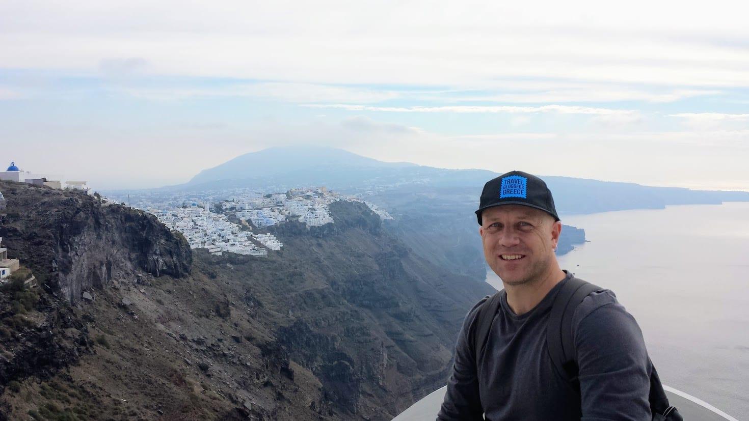 Dave in Santorini in Winter