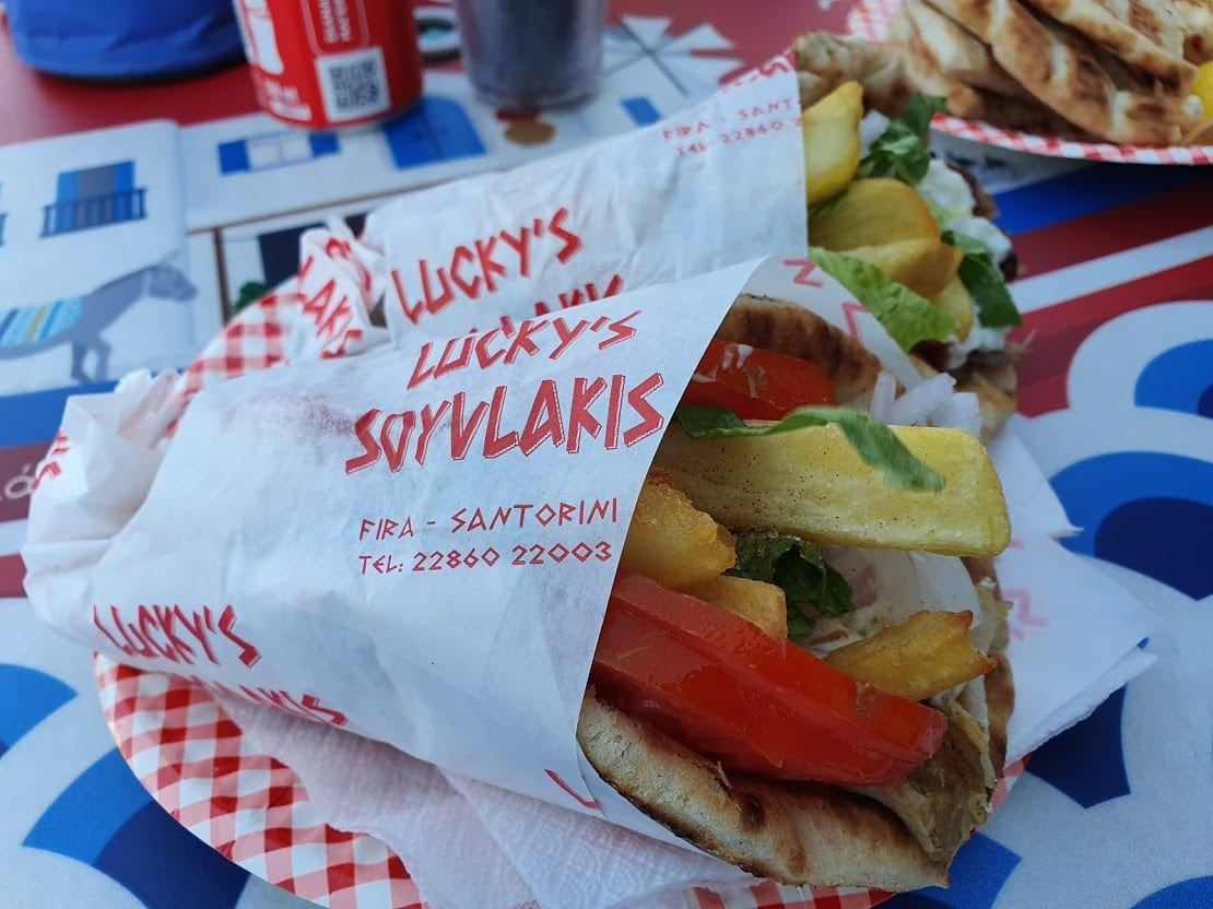 Lucky's Souvlaki is open all the year around in Santorini