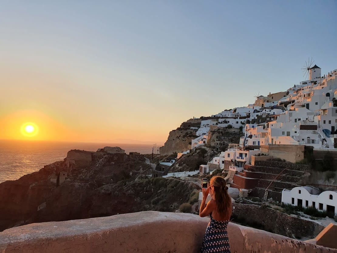 Enjoying a sunset in Oia without the crowds