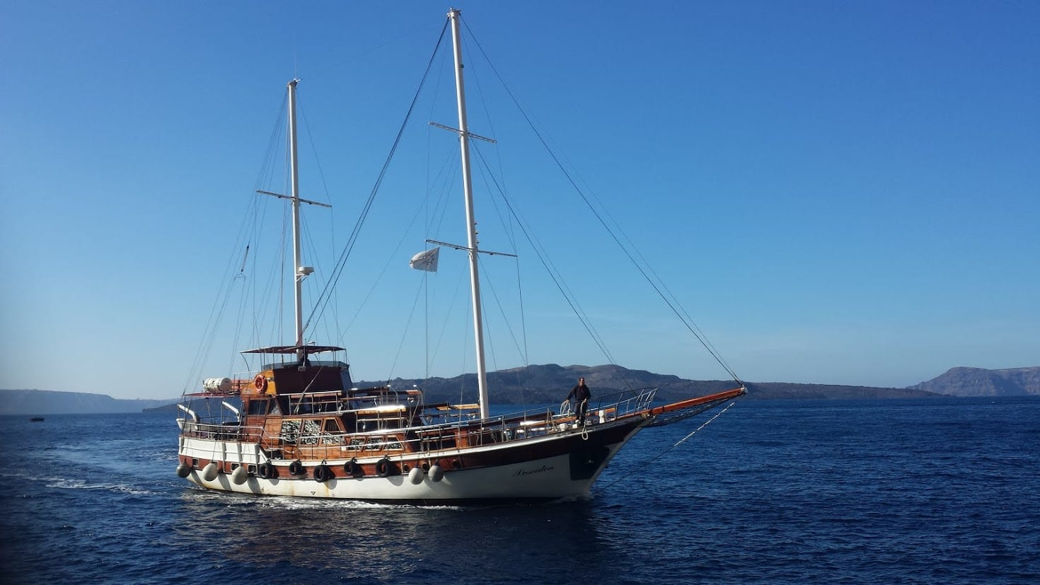 Visiting the Santorini volcano on a boat trip in the winter