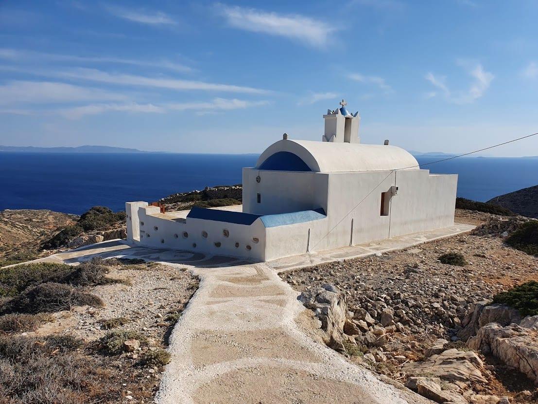The church of Agia Sofia overlooking the Aegean Sea in Greece