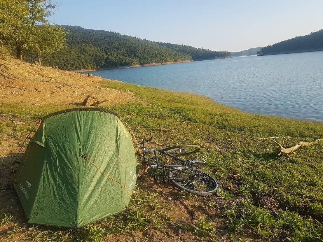 Camping by a lake