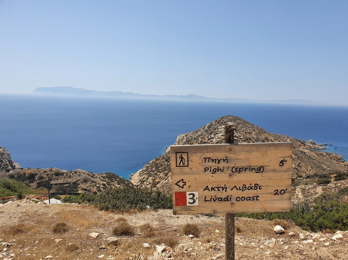 Hiking signposts in Donoussa