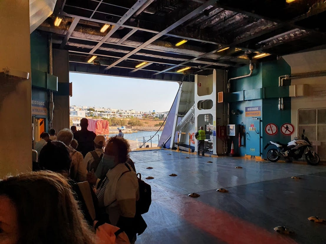 Boarding a ferry heading to Paros in Greece