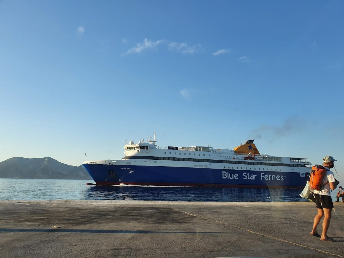 Taking the ferry from Koufonissi to Paros in Greece