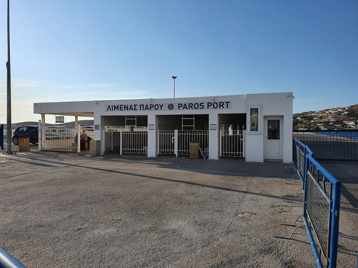 Ferries to Paros arrive at the ferry port in Pirakia