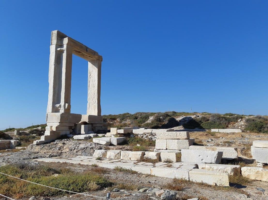 Side view of the Naxos Portara