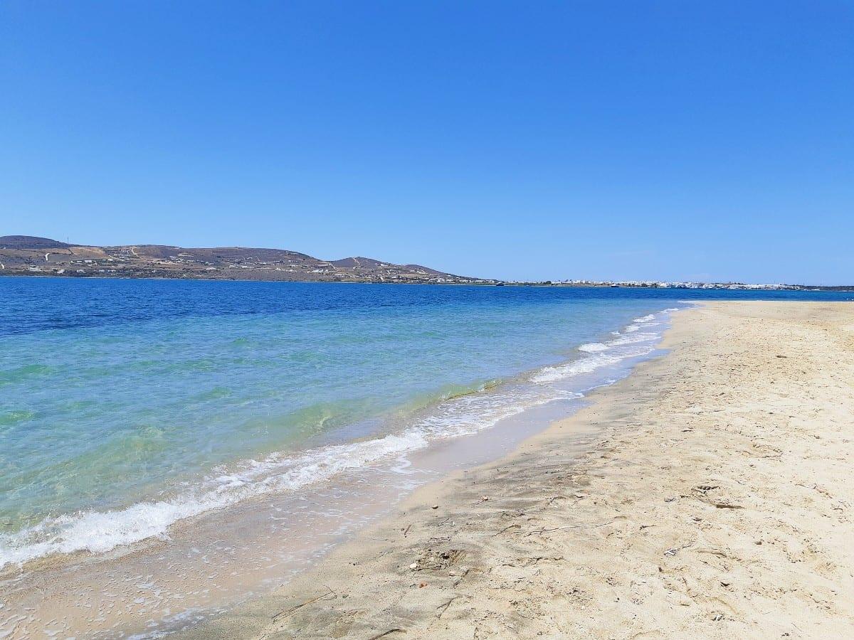 Beautiful sandy beach of Pounta in Paros