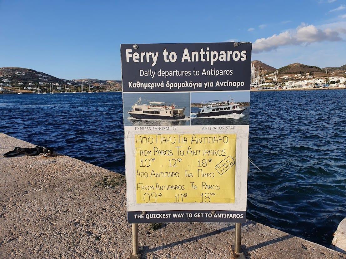 Taking the ferry to Antiparos from Paros