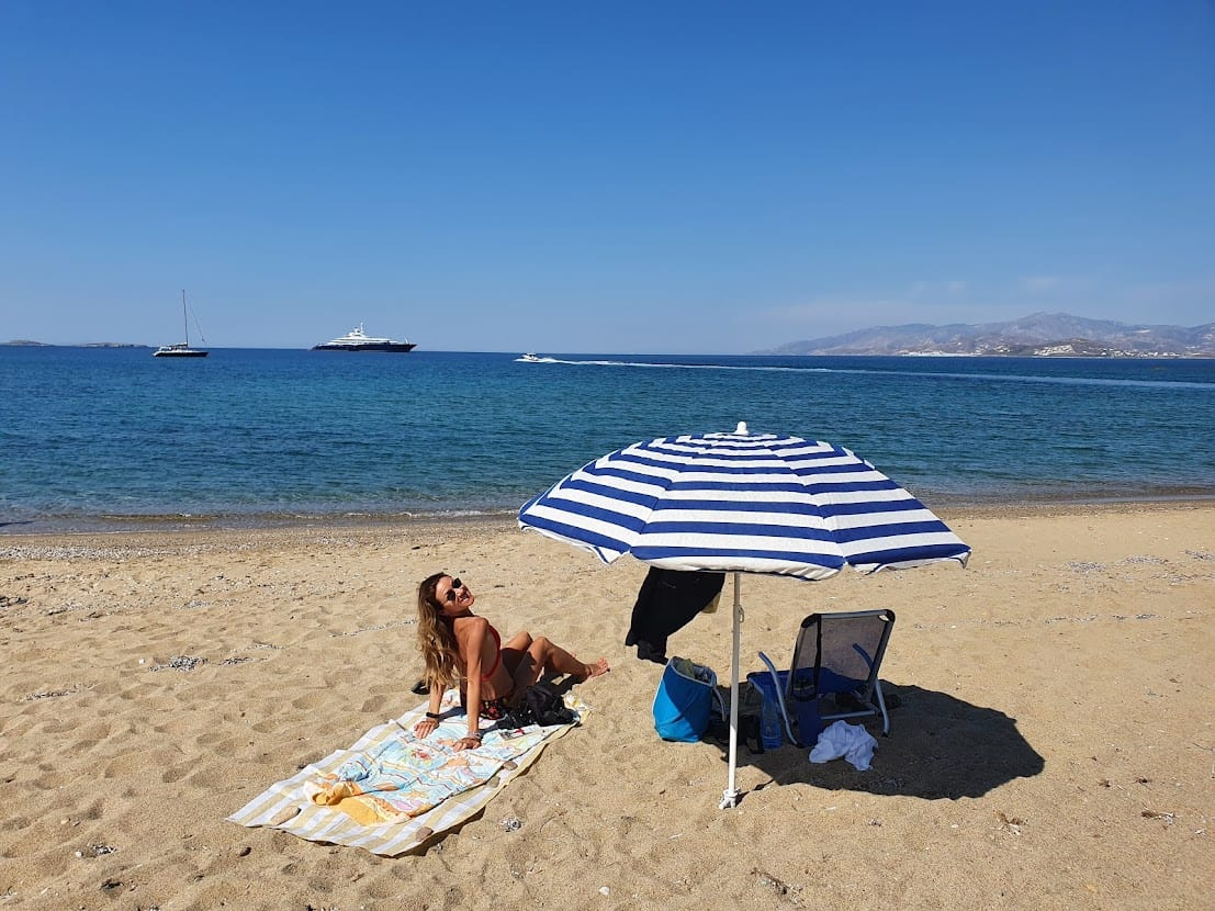 Relaxing on the beach in Paros