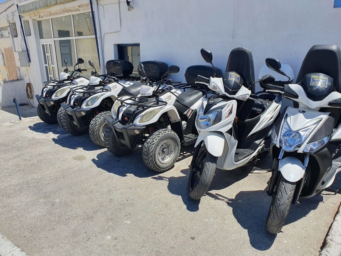 Vehicles for hire in Santorini