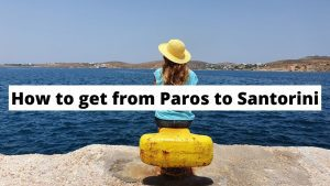 Waiting to take the ferry from Paros to Santorini in Greece