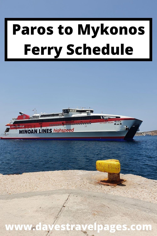 Paros to Mykonos Ferry Schedule
