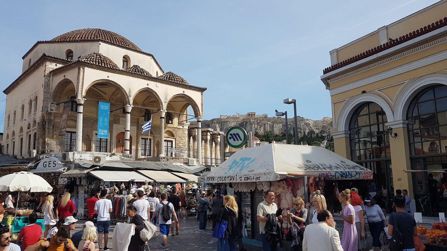 Crowds on Monastiraki Square in Athens