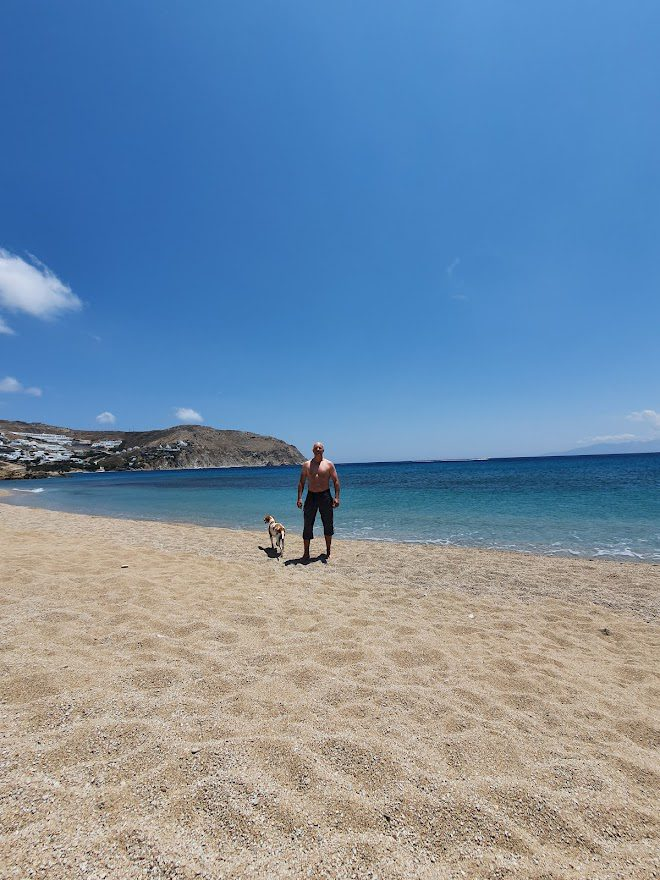 Dave on a Greek beach in June
