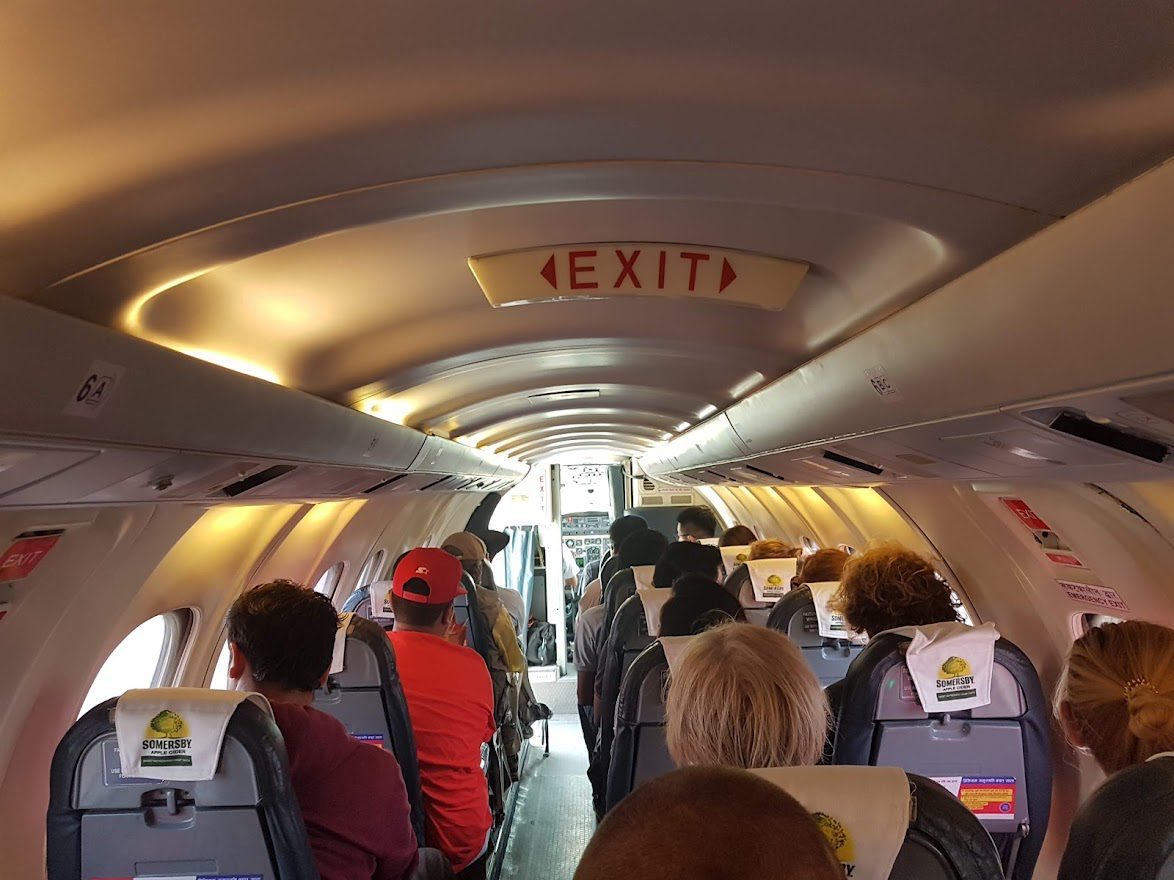 Exit sign on a plane in Nepal