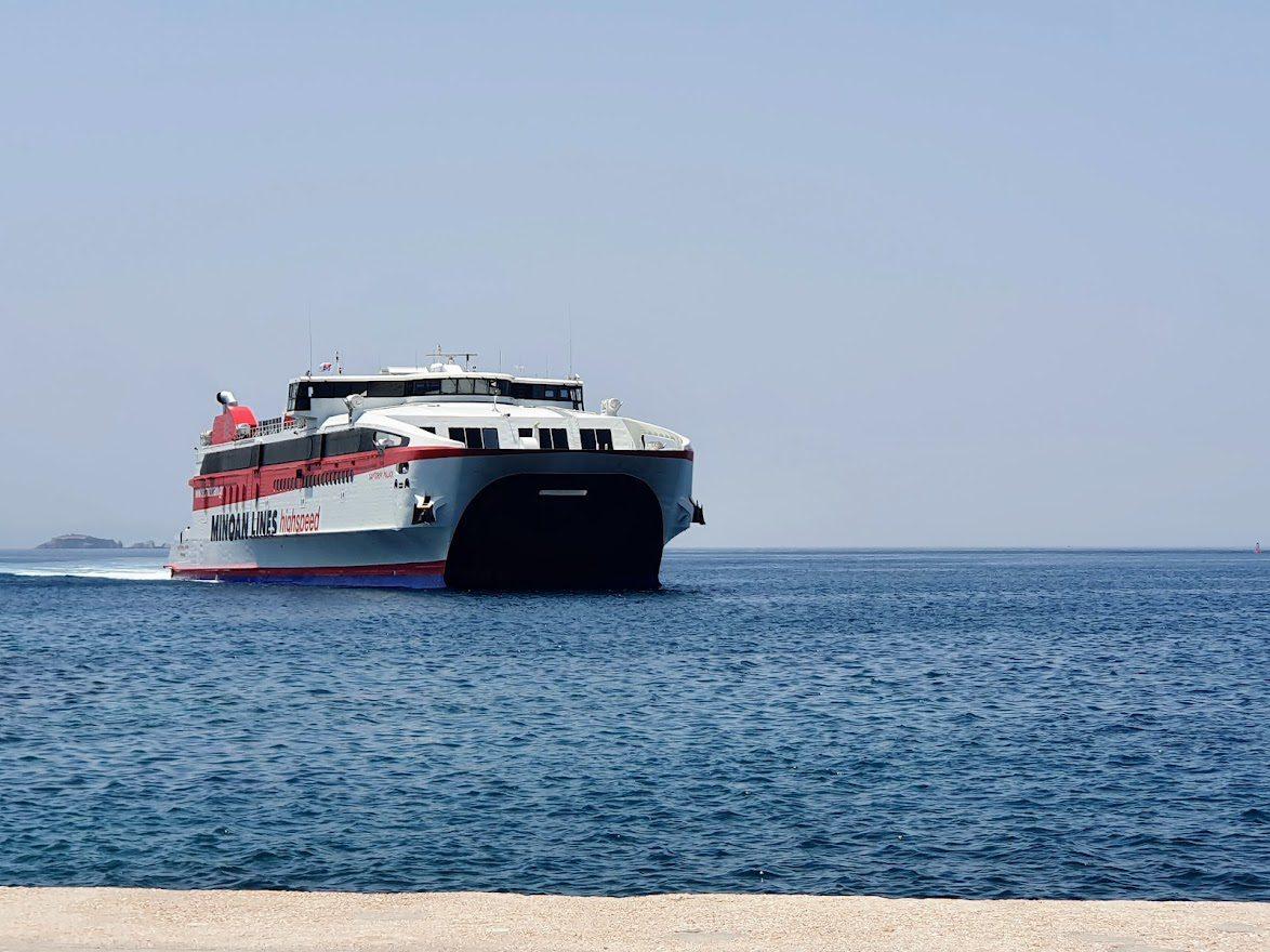 The Minoan Lines vessel Santorini Palace is a large catamaran