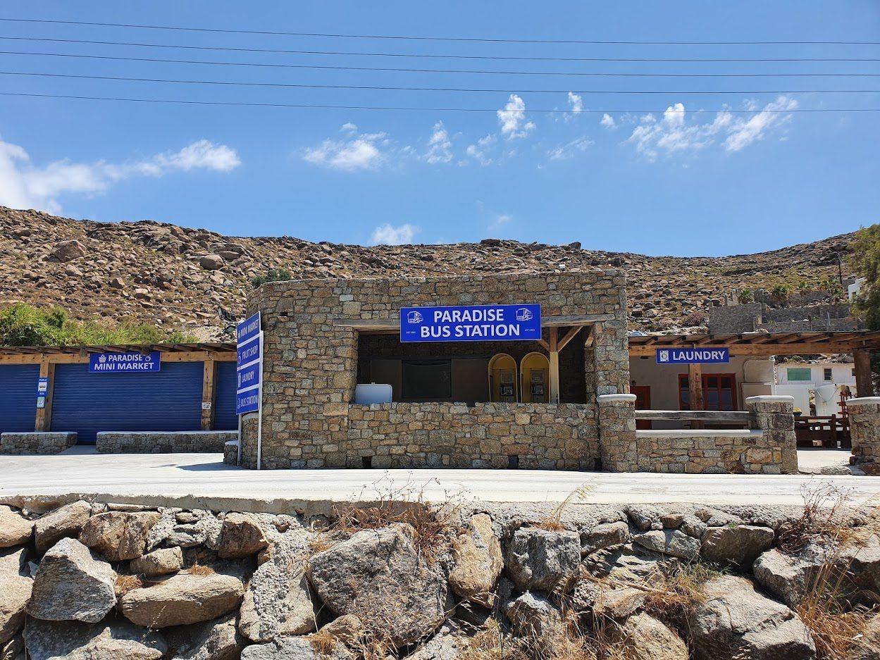 Paradise Beach Bus Station in Mykonos