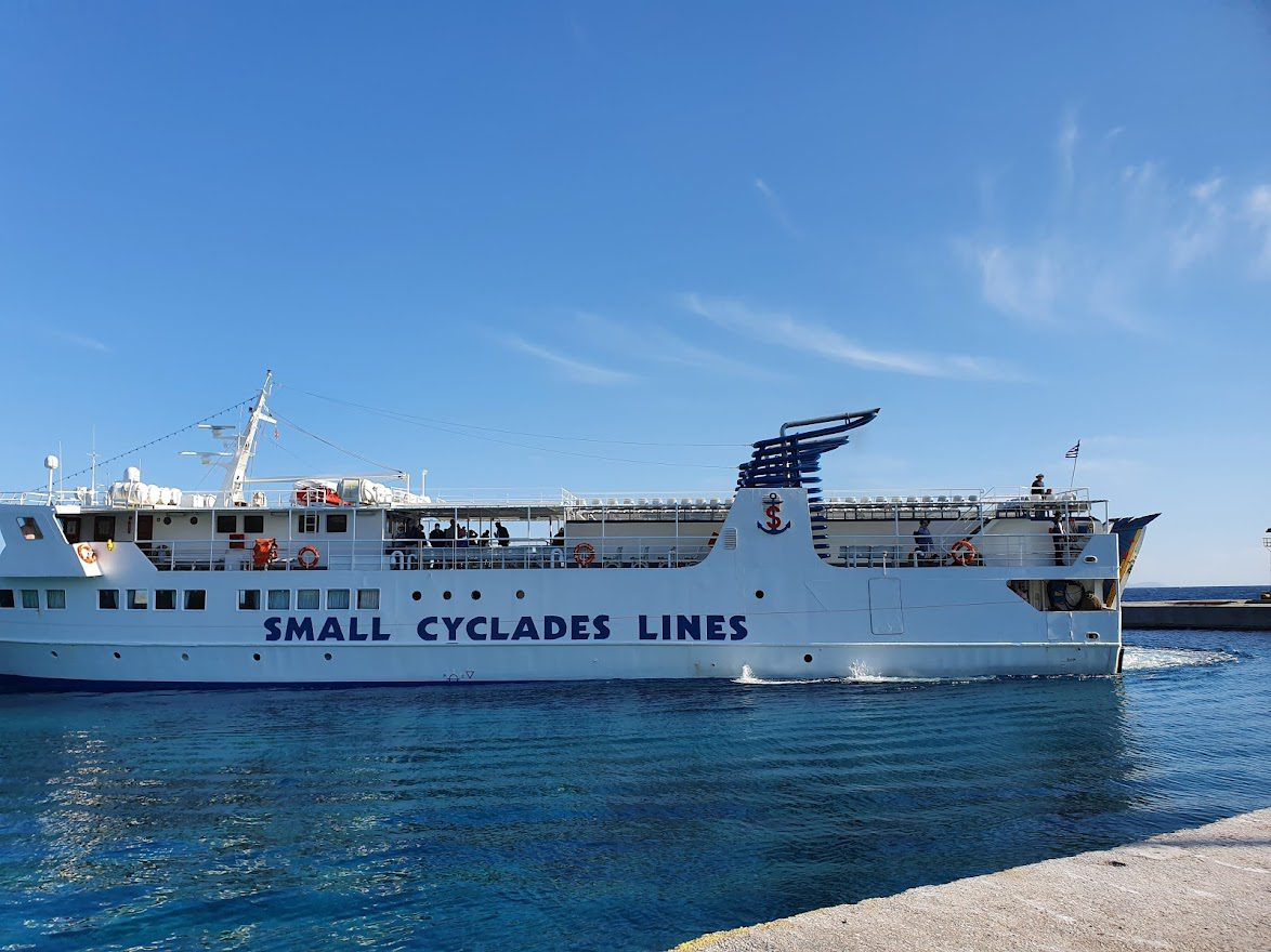 Using the Small Cyclades Lines ferry in Greece