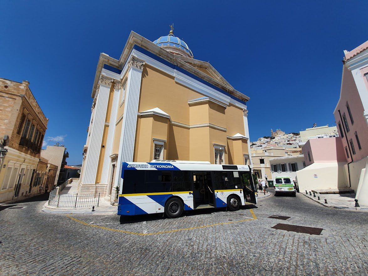 Taking a bus in Syros
