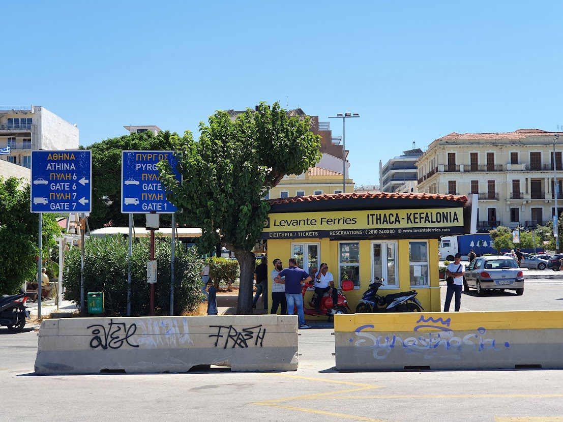 A ferry kiosk in the port of Patras Greece