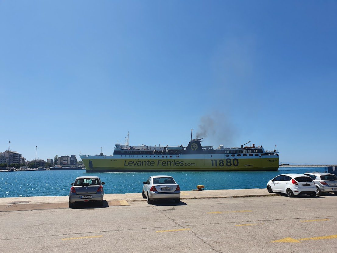 A Levante ferry sailing from the port of Patras to Kefalonia in Greece
