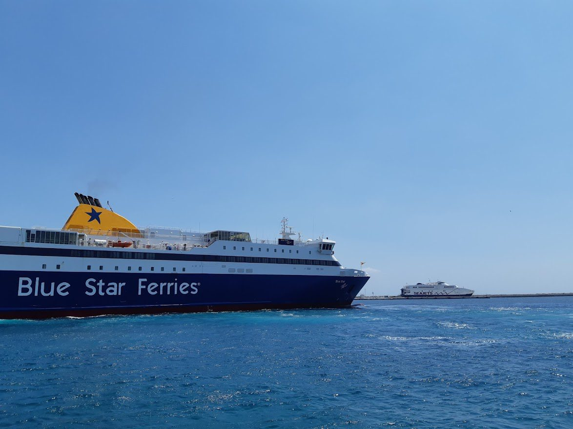 Ferries at the port in Ermoupoli in Syros island
