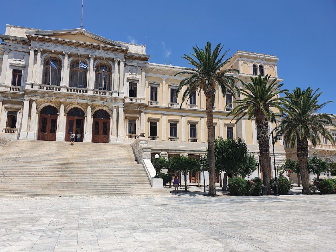The town hall in Ermoupoli , Syros